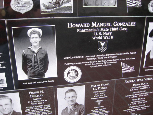 Pharmacist's Mate Third Class Howard Manuel Gonzalez of the U.S. Navy is honored.