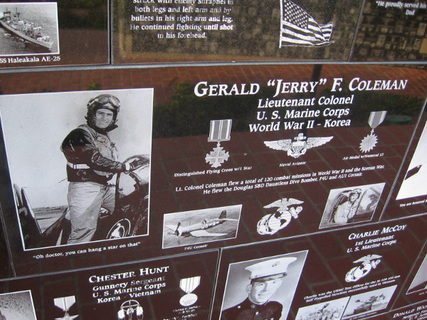 San Diego local hero Jerry Coleman, a baseball legend who served with great patriotism in two wars.
