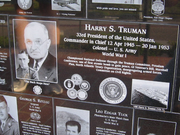Commander in Chief Harry S. Truman began his military career during World War I.