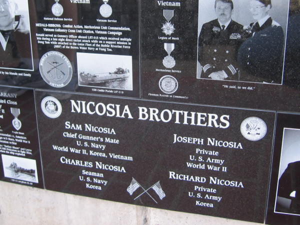 The four Nicosia brothers fought in different military branches in several theaters of war.
