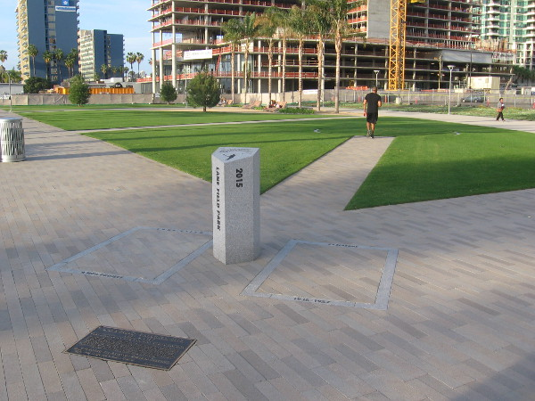 A monument and plaque commemorate original Lane Field in downtown San Diego.