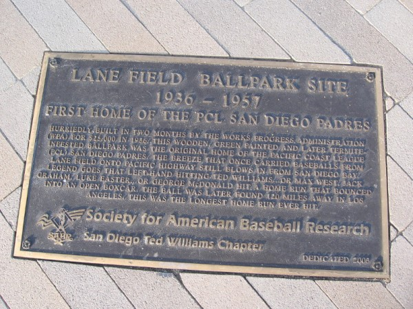 Lane Field Ballpark Site 1936-1957. First home of the PCL San Diego Padres.