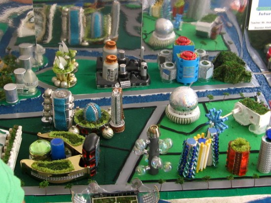 Some students built cool models of futuristic cities.