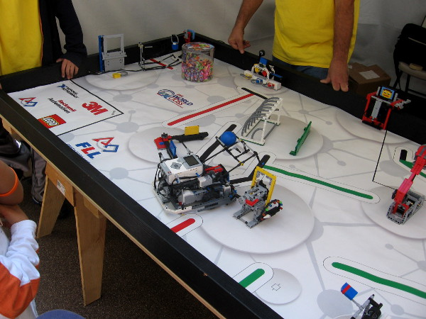 This robot participates in the Lego League, trying to score points on an unusual course.