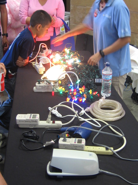 Chrismas lights helped teach about energy conservation.