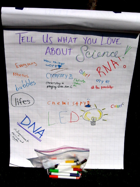 Young people write down what they like about science!