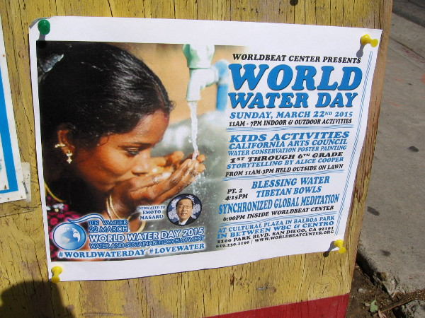 World Water Day in Balboa Park included a kids poster contest, painting, music, dance, a water blessing, and a global meditation.