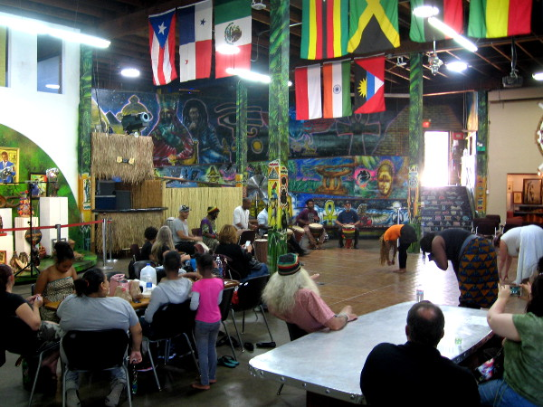 The colorful interior of the WorldBeat Cultural Center is alive with dancers and drummers.