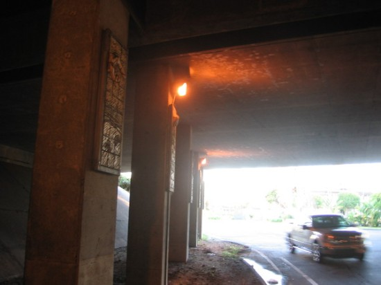 The very dark Interstate 8 underpass at Hotel Circle features seldom appreciated public art.