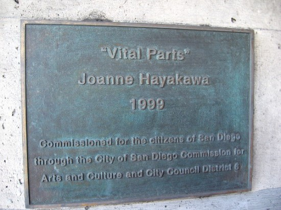 Vital Parts, by artist Joanne Hayakawa, was installed on five pillars of a Mission Valley freeway bridge in 1999.