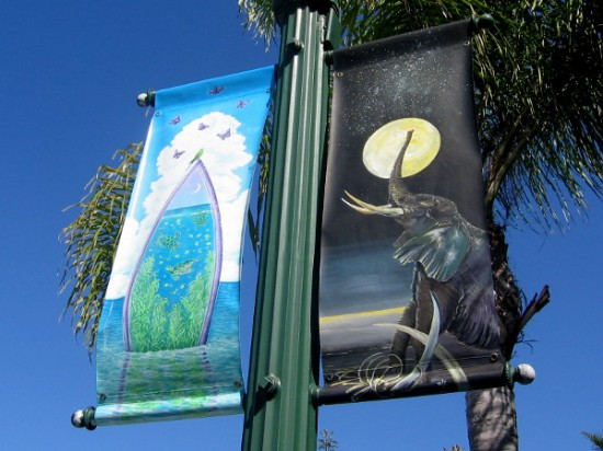 Elephants and a spiritual butterfly surfboard. Hindu imagery is popular in Encinitas near the beach, due to the presence of the visually distinctive Self-Realization Fellowship ashram.