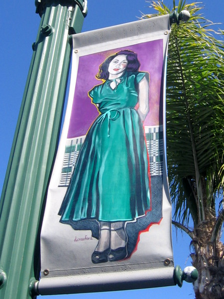 Bold art on a street banner along Pacific Coast Highway.