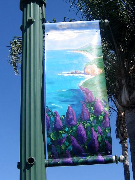 Artwork shows the coastline along San Diego's North County.