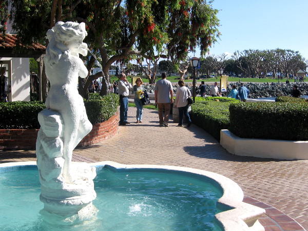 One of the fountains of Seaport Village, a favorite San Diego attraction.