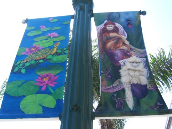 Fun, lush art on many different banners on Encinitas street lamps.