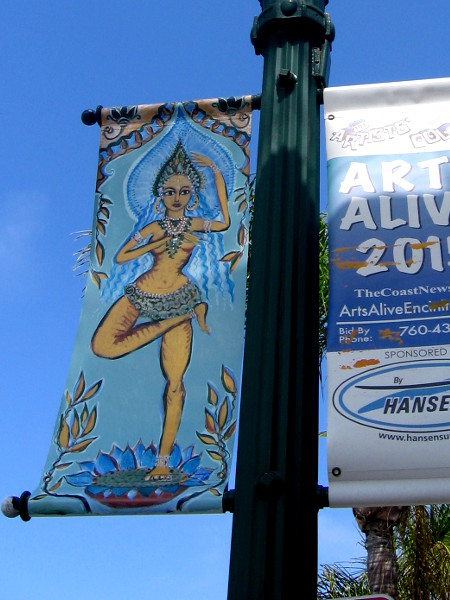 Exotic figure references Hinduism and Eastern philosophy. The world famous Swami's surfing spot is overlooked by the Self-Realization Fellowship grounds in Encinitas.