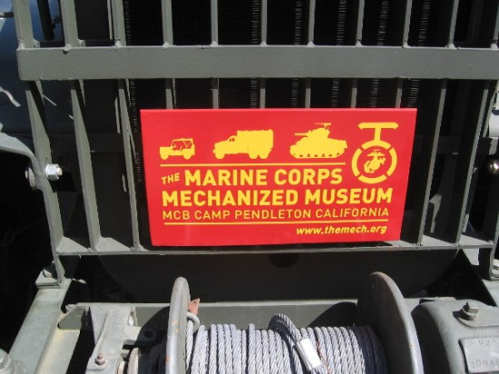 This historical military vehicle comes from the Marine Corps Mechanized Museum at Camp Pendleton north of San Diego.