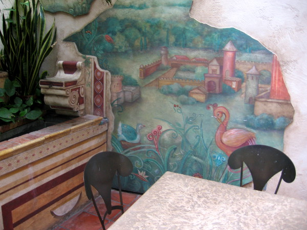 La Pensione Hotel in Little Italy has an interesting semi-outdoor area with lots of murals.