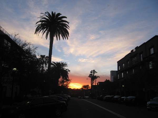 The sun begins to rise as I take a picture on Cortez Hill.
