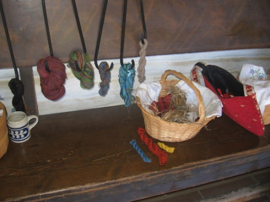 Yarns dyed many different colors out on display in San Diego's Old Town.