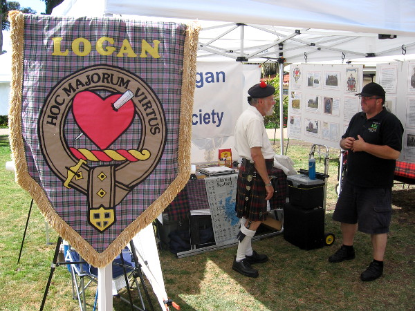 Clan Logan's crest is a pierced human heart. HOC MAJORUM VIRTUS, translated from Latin is Valour of My Ancestors.