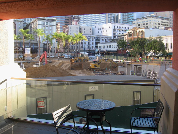 View of nearby park construction from an upper level of downtown's Horton Plaza mall.