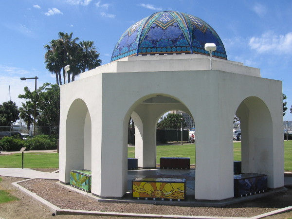 Beautiful dome of San Diego's Cancer Survivors Park contains artistic tiled benches and words of encouragement.