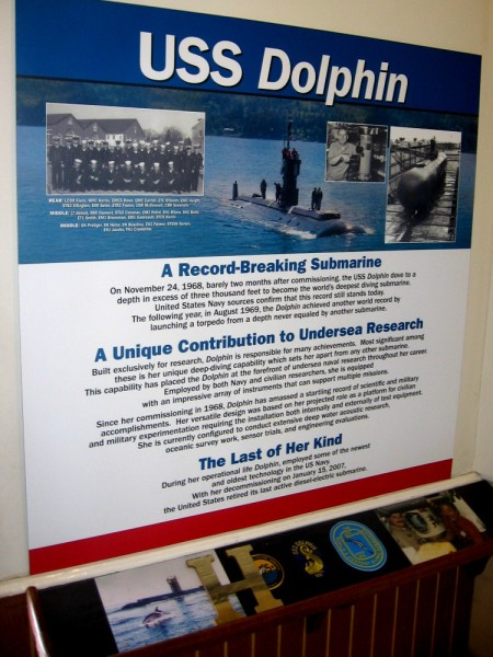 Display inside the Berkeley, next to doorway which leads museum visitors outside to the Dolphin.