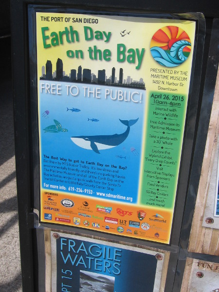 Earth Day on the Bay featured free admission to the Maritime Museum of San Diego and many environmental organizations with exhibits.