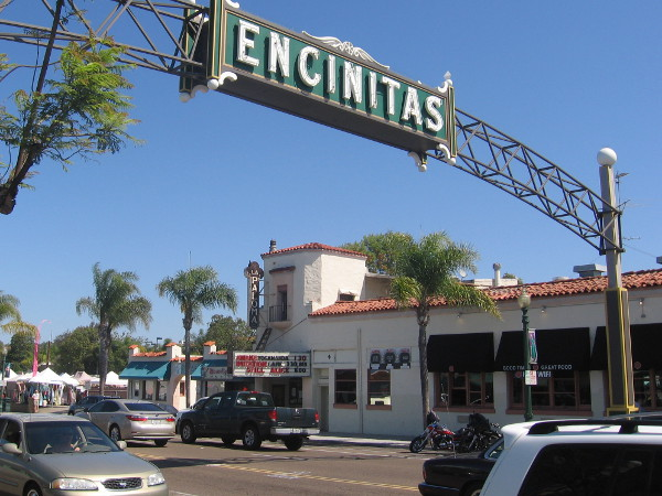 The big Encinitas landmark sign over South Coast Highway 101.