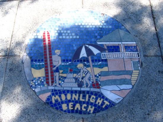 Beautiful Moonlight Beach in Encinitas is celebrated with fun sidewalk art.