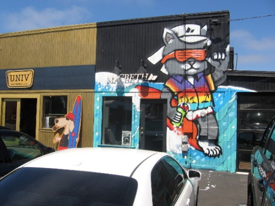 Cool street art on side of business just off Pacific Coast Highway.