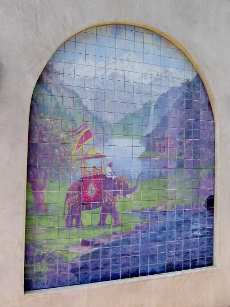 Elephant mosaic on side of Self-Realization Fellowship gift shop.
