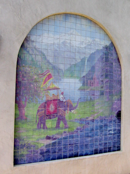 Elephant mosaic on side of Self-Realization Fellowship gift shop.