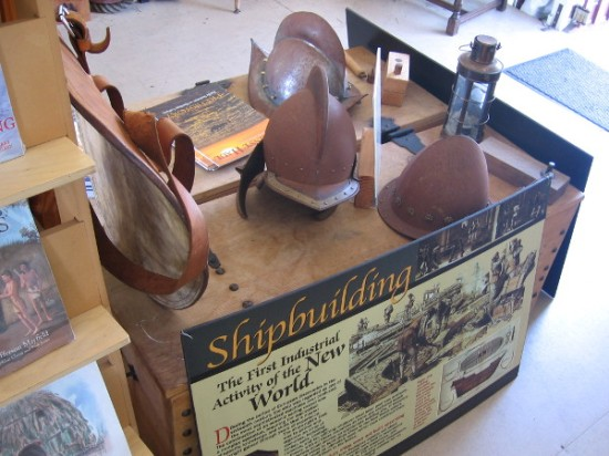 Shipbuilding was the first industrial activity of the New World. Gift shop at site entrance includes Spanish conquistador helmets and breastplate.