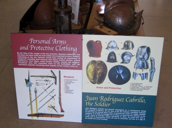 Poster shows personal arms and protective clothing used by the men who sailed with Juan Rodriguez Cabrillo five centuries ago.