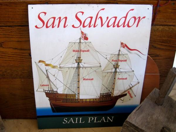 Diagram shows the sail plan for historic galleon San Salvador.