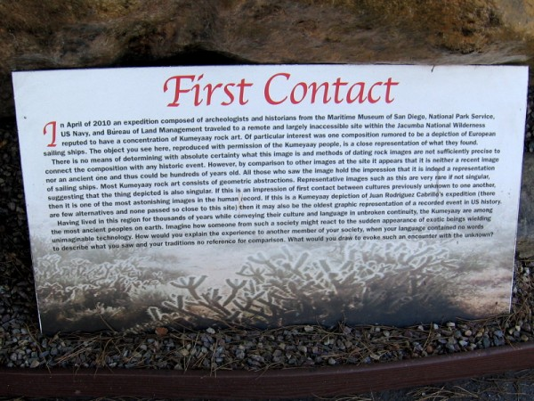 First Contact. If this rock art is a Kumeyaay depiction of Cabrillo's expedition, it might be the oldest graphic representation of a recorded event in American history.
