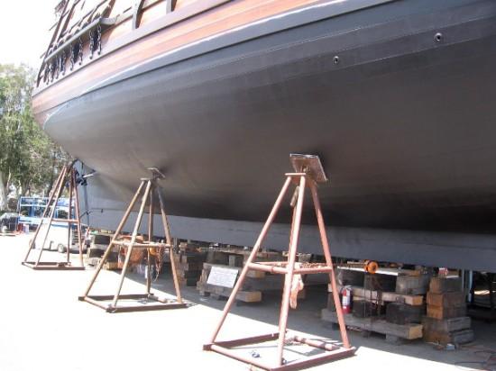 A look at the hard wood hull of the galleon San Salvador at Spanish Landing.