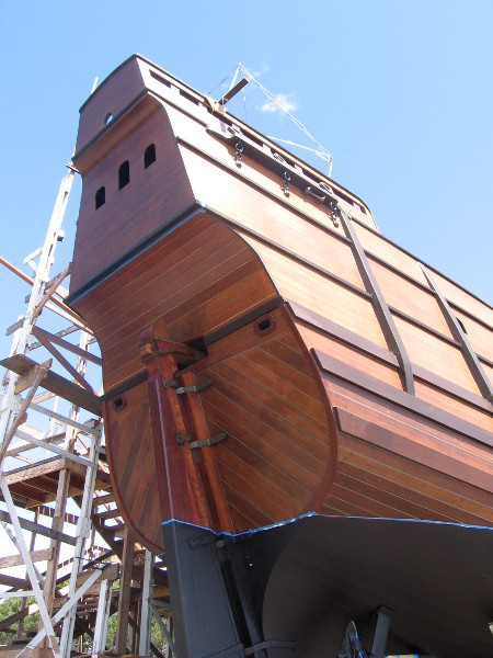 The high stern of San Salvador. The rudder is attached to a tiller. That propeller below (and eventual engine) is a modern convenience, unknown by Cabrillo!