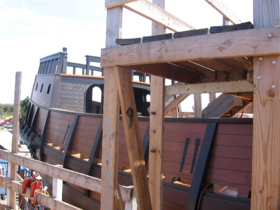Our group climbed the steps of scaffolding to check out the hull, upper deck and aftcastle.