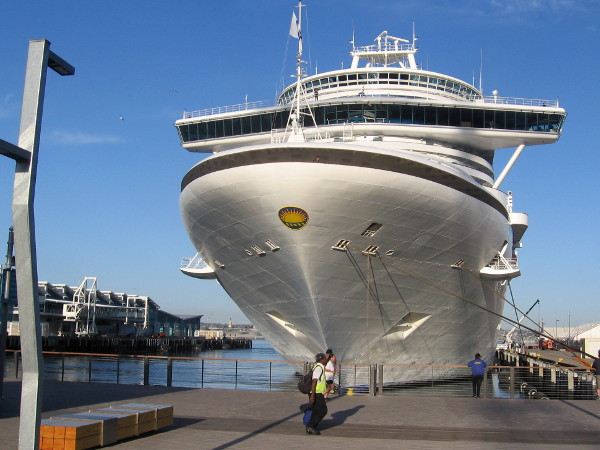 The huge Crown Princess cruise ship docked on San Diego's Embarcadero.
