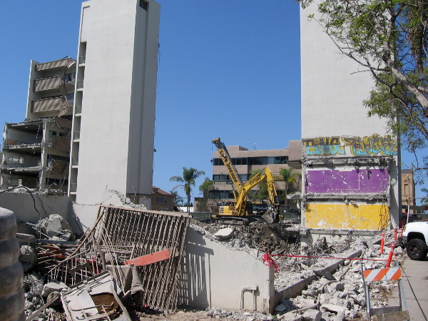 Large medical office building on Fifth Avenue just north of Olive being demolished. I saw a doctor here many years ago!