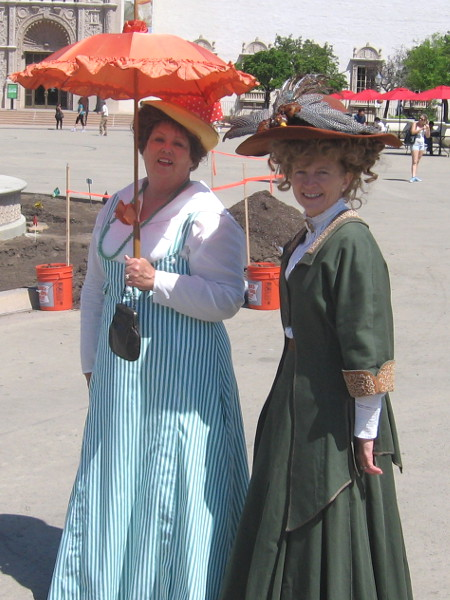 Two elegant ladies paused to smile for my camera in the park's central plaza.