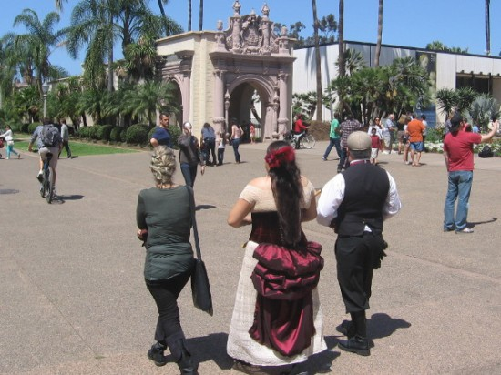 Some people dressed for the occasion enjoying the warm San Diego sunshine.