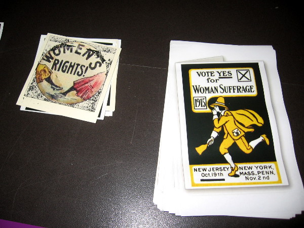A display in the Balboa Park Club building included Women's Rights memorabilia from a hundred years ago.