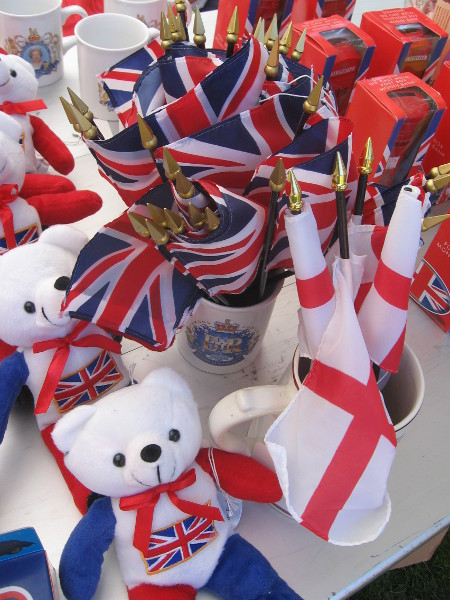 Lots of Union Jacks and gifts celebrating England were for sale.