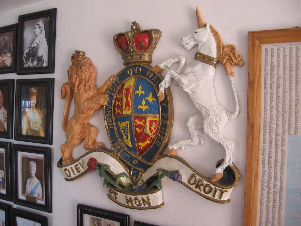 Royal coat of arms of the United Kingdom inside the House of England cottage.