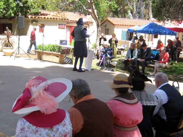 Event attendees listen intently to a talk about the Elizabethan era.