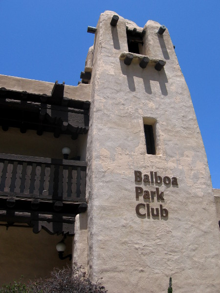 The Balboa Park Club building designed to appear like an adobe in America's Southwest.